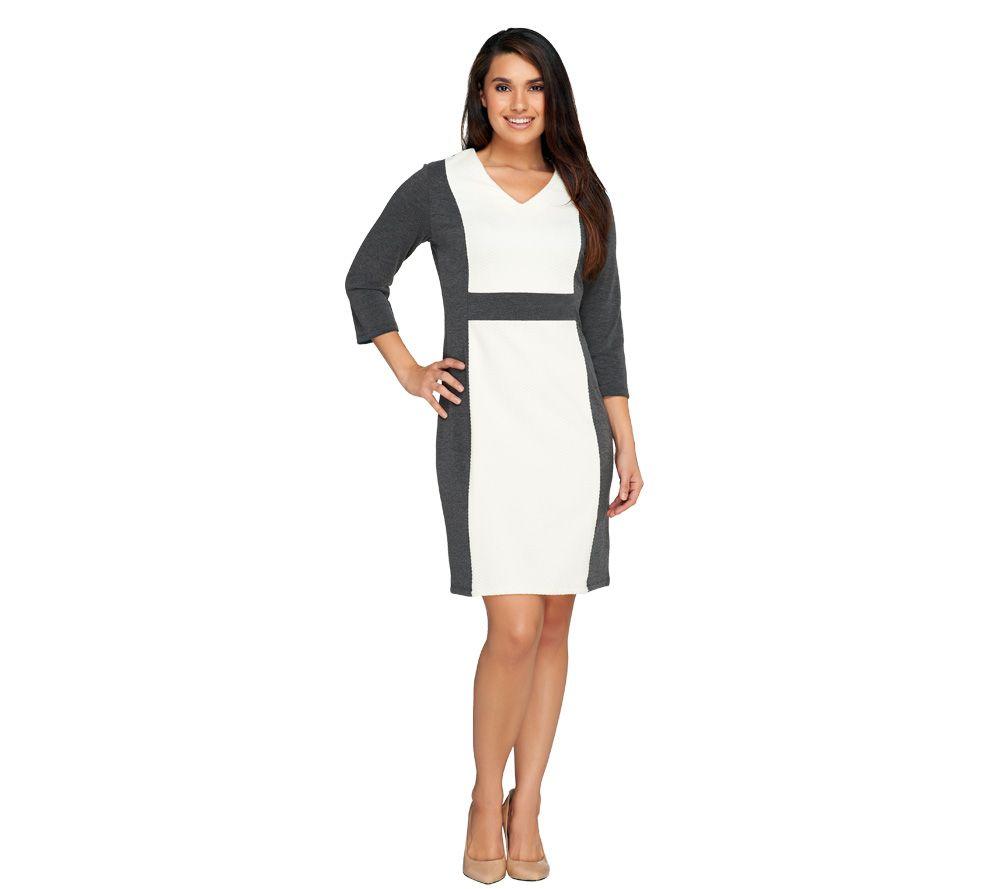 Liz claiborne new york petite v neck ponte knit dress for Liz claiborne v neck t shirts
