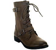 Sole Society Lace-up Boots w/ Strap Detail - Nessie - A258097