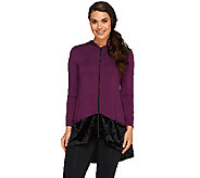LOGO by Lori Goldstein Zip Front Knit Cardigan with Velvet Trim - A259097