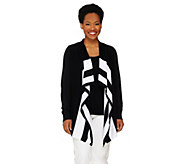 Denim & Co. Striped Drape Front Cardigan - A261797