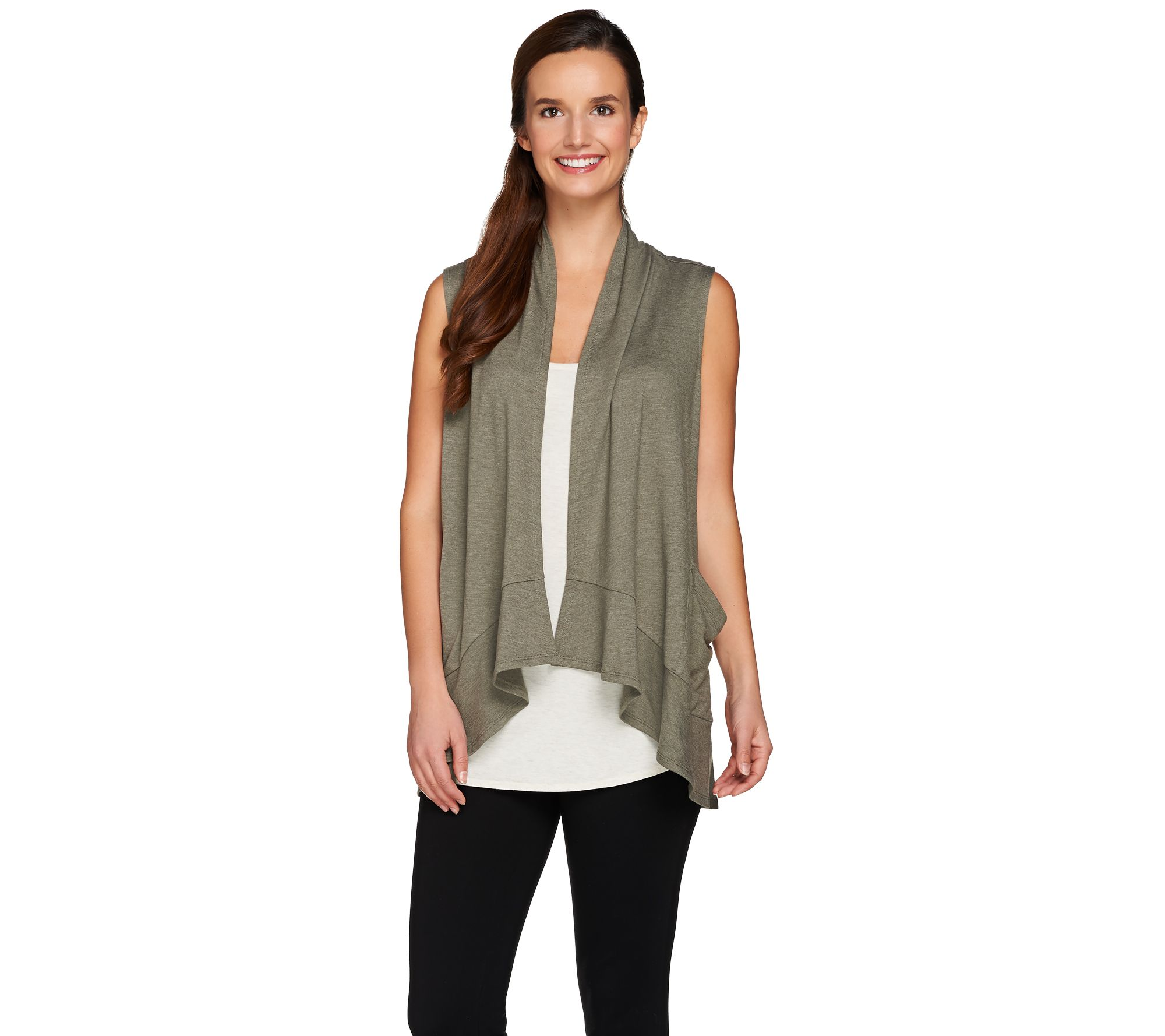 LOGO Lounge by Lori Goldstein Drape Front Vest with Pockets - Page ...