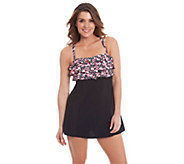 Liz Claiborne New York Chevron Print Swim Dress - A263697