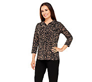As Is Susan Graver Printed Liquid Knit 3/4 Sleeve Top w/Faux Leather - A265997