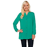 Susan Graver Georgette Long Sleeve Y-neck Button Front Shirt - A266797