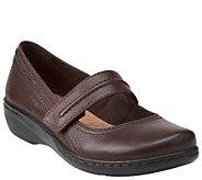 Clarks Leather Mary Janes with Adj. Strap - Evianna Cozy - A269097