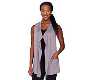 As Is LOGO Lounge by Lori Goldstein French Terry Vest w/ Chiffon - A269897