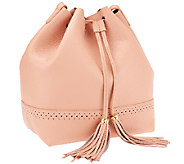 As Is Isaac Mizrahi Live! Bridgehampton Leather Bucket Bag - A272397