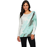 LOGO by Lori Goldstein Printed Cotton Cashmere Long Sleeve Sweater - A273697