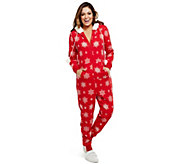 Bethany Mota Zip Front Hooded Snowflake Print Jumpsuit - A273797
