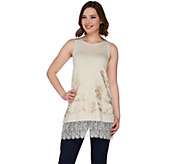 LOGO Lavish by Lori Goldstein Knit Tank with Embroidery and Lace Trim - A274097