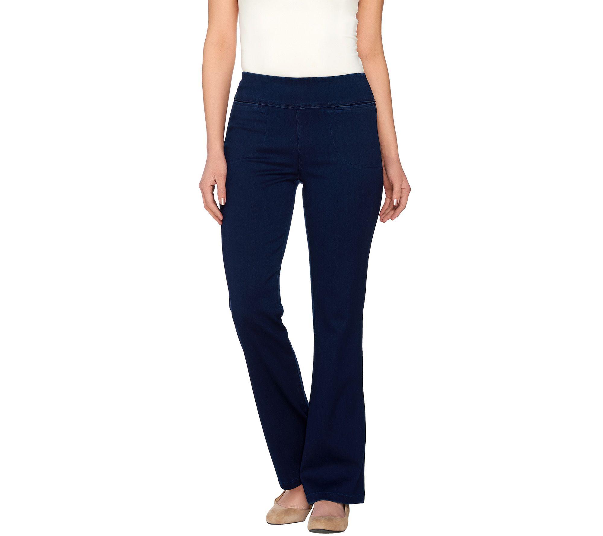 Denim & Co. Active Petite Denim Yoga Pants with Front Pockets ...