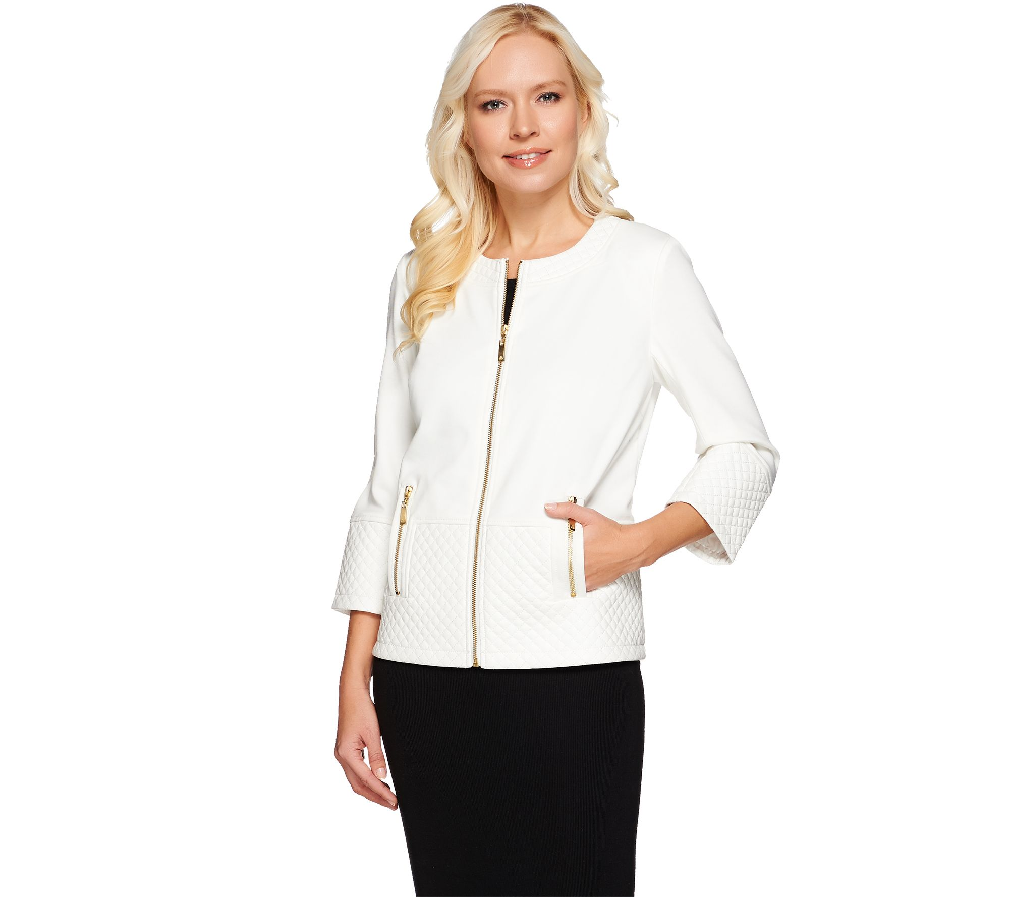Dennis Basso Ponte Cropped Jacket w/ Quilted Faux Leather