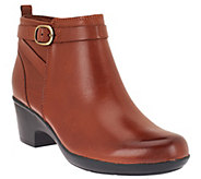 As Is Clarks Leather Ankle Boots w/ Buckle Detail - Malia Hawthorn - A276097