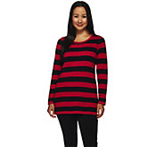As Is Susan Graver Striped Cotton Rayon Nylon Button Back Sweater - A276197
