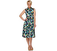 Isaac Mizrahi Live! Deco Floral Printed Shirt Dress - A276597