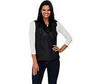 As Is Dennis Basso Faux Leather Moto Vest with Faux Fur Collar - A277697