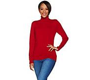 Susan Graver Rayon Nylon Turtleneck Sweater w/ Button Detail - A279797
