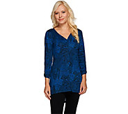 As Is Attitudes by Renee Printed Sleeve Tunic w/Front Seam - A280597