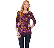 LOGO by Lori Goldstein Printed Top with Solid Trim - A282797