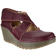 As Is FLY London Leather Adj. Criss Cross Strap Wedges - Yogo - A283597