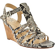 As Is Isaac Mizrahi Live! Leather Fisherman Wedge Sandals - A284497