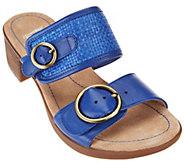 As Is Dansko Leather Double Strap Block Heel Slide Sandals - Lenny - A284697