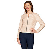 G.I.L.I Peplum Faux Leather Zip Front Jacket - A286997