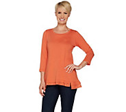 LOGO by Lori Goldstein Cotton Modal Knit Top with Eyelet Ruffles - A290497