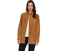 As Is Denim & Co. Snap Front Suede Shirt Jacket w/ Seaming Details - A292097