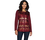 Quacker Factory Lace and Sequin Button Front Bracelet Sleeve Cardigan - A292697