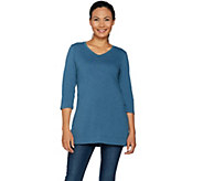 Denim & Co. Essentials 3/4 Sleeve V-Neck Tunic with Side Slits - A292997