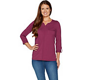 Denim & Co. Perfect Jersey Roll-Tab Long Sleeve Top with Utility Pockets - A294097