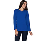 Denim & Co. Perfect Jersey Long Sleeve Round Neck Top w/ Grommets - A296297