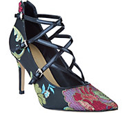 Marc Fisher Brocade Print Cross Strap Pumps - Danger - A296597