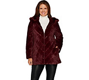Dennis Basso Chevron Faux Fur Hooded Coat with Embellishment - A298297