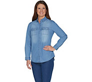 Isaac Mizrahi Live! TRUE DENIM Button Down Shirt - A300897