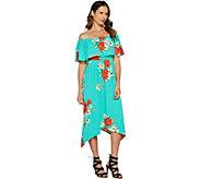 As Is Du Jour Off the Shoulder Floral Printed Knit Dress - A301497