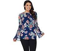 Du Jour Floral Printed Bell Sleeve Woven Blouse w/ Camisole - A303297
