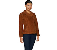 As Is Isaac Mizrahi Live! Suede Motorcy. Jacket w/Prntd Lining - A303897
