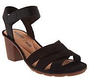 Clarks Leather Two-Peice Mid-Heel Sandals - Sashlin Jeneva - A304297