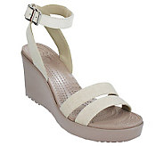 Crocs Linen and Leather Wedge Sandals - Leigh Wedge - A336197