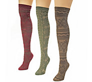 MUK LUKS Womens 3-Pr Over-the-Knee Pattern Microfiber Socks - A337697