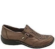 Earth Leather Perforated Slip-on Shoes - Ginseng - A338097