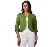 Susan Graver Ponte Knit Bolero with 3/4 Ruched Sleeves - A216998