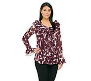 Dennis Basso Printed Button Front Ruffle Blouse with Cami - A221098