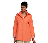 Dennis Basso Water Resistant Jacket with Paisley Trim & Removable Hood - A229898