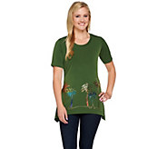 Quacker Factory Luau Sparkle Trapeze Hem Short Sleeve Knit T-shirt - A232398