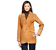 Dennis Basso Washable Suede Button Front Elongated Blazer - A236898