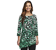 Susan Graver Liquid Knit Printed Top w/ Asymmetrical Hem - A239798