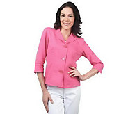 As Is Susan Graver Linen & Rayon Notch Collar Jacket - A240598